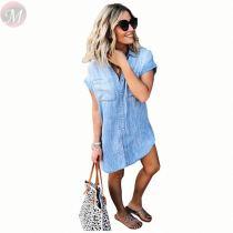 Cheap apparel fashion short sleeve Denim shirt skirt Women Girls' Sexy Clothes Lady Elegant Summer Casual Dress