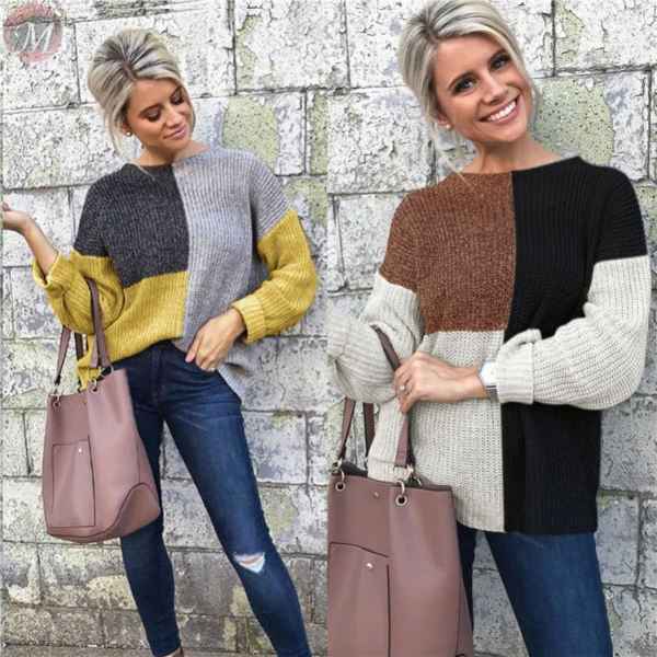 hot sale fashion casual Knitting sweater long sleeve Multicolor splicing Winter jumper woman woollen sweater