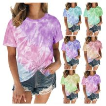 Hot selling casual Tie Dye Print round Neck short sleeve Loose women fansion sexy t shirt women tops