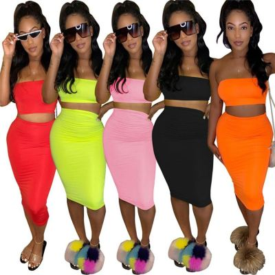 Newest Design 2020 Summer Sexy 2 Pcs Dress Outfits Skirt And Boob Tube Top Two Piece Set Women Clothing For Women