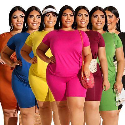 Fashionable Casual Solid Color Round Neck T Shirt And Short Pant Set 2 Pcs Track Suit Outfits Women Plus Size Two Piece Set
