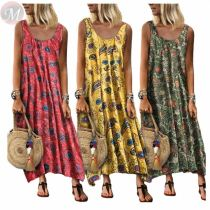 Hot selling fashion sexy round neck print Lady Elegant Sexy Clothes Summer Women Girls' Casual Maxi Long Dress