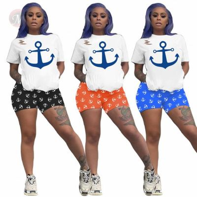 New Design Summer Print Sexy 2 Pcs Sports Outfits Two Piece Shorts Set Matching Sets