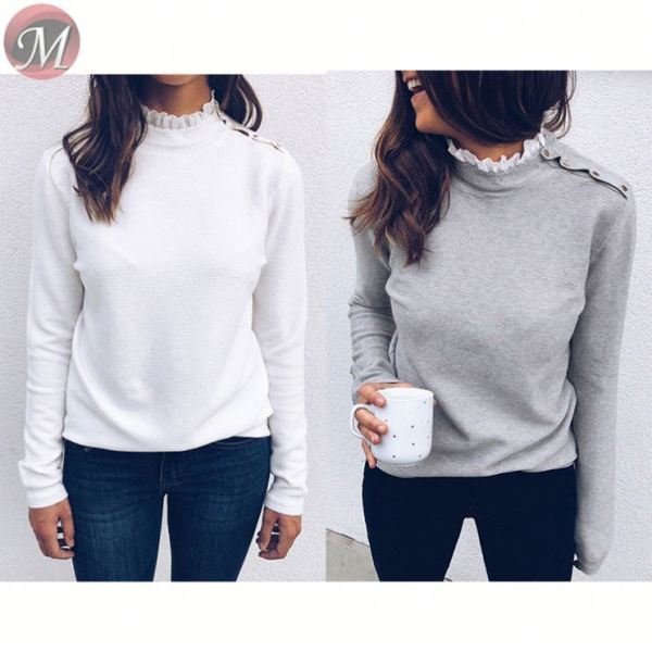 hot onsale casual tops lace round neck solid color button long sleeve Blouses And Tops Women Winter Clothes