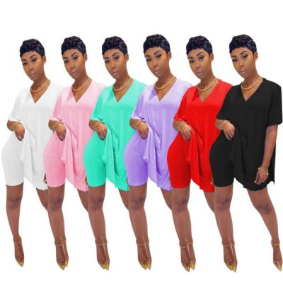 Popular Solid Color V Neck Loose Slit T Shirt And Shorts Pants Summer Sexy 2 Pcs Track Suit Outfits Two Piece Set Women Clothing
