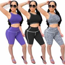 Wholesale Summer Solid Sexy 2 Pcs Track Suit Sports Outfits Matching Sets Two Piece Short Set