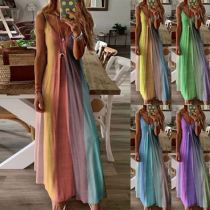 Good quality casual spaghetti strap patchwork color Lady Elegant Sexy Clothes Summer Women Girls' Maxi Long Dress