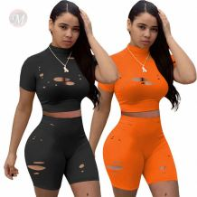 Fashion Solid Hollow Out Summer Sexy Matching Sets 2 Pcs Sports Outfits Two Piece Short Set