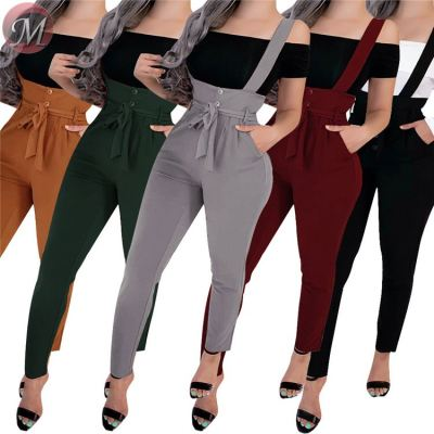 newest fashion casual overalls solid color suspender trousers Pants Casual Clothes Women