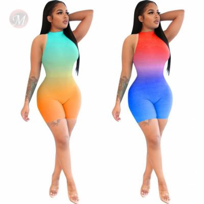 Fashion Summer Tights Gradient Sexy Women's Jump Suit Ladies One Piece Short Jumpsuits And Rompers Bodycon