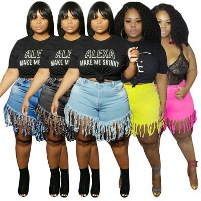 Best Design 2020 Summer Fashion Tassels Women Female Bottoms Fat Ladies Trousers Plus Size Denim Shorts Jeans Pants
