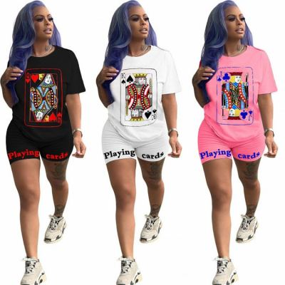 Casual Summer Solid With Poker And Letter Print Sexy 2 Pcs Outfits Two Piece Set Sports Matching Short Sets