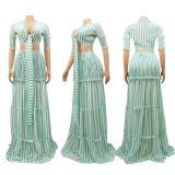 Design Fashion Stripe Print Chiffon Ruffles Women Evening Party Sexy Dress Set Skirt And Top Two Piece Set