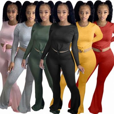 New Arrival Autumn Winter Solid Color Fitness Flare Pants Women Sexy 2 Pcs Outfits Two Piece Set