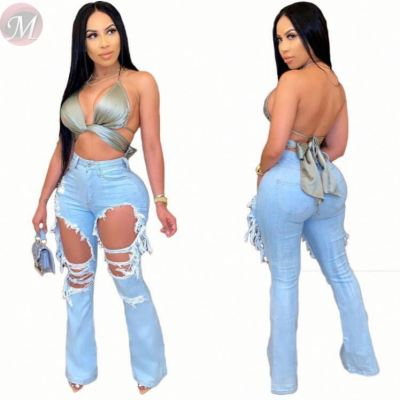 New arrival fashion casual solid color hole trumpet Women Female Bottoms Ladies Trousers Jeans Pants