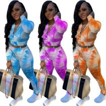 Hot Sell Tie Dye Print Fashion Casual Sports Suit Hooded Top And Pants Sexy 2 Pcs Track Suit Outfits Women Two Piece Set