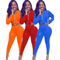 2020 Fall New Solid Color Bandage Top And Pants Sexy 2 Pcs Track Suit Outfits Two Piece Set Women Clothing