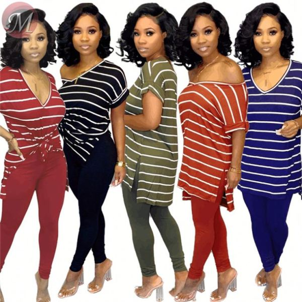 queenmoen new stylish multicolor casual v neck side slit long length short sleeve stripe print woman T shirt
