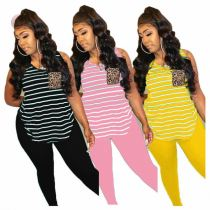 Fashion Sleeveless Striped With Pocket Top And Solid Pants Sexy Women Clothes Matching Sets 2 Pcs Outfits Two Piece Set
