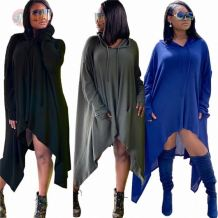 Best selling Casual Loose Solid Color With Hoodies And Pocket Tops Long Sleeve Autumn Winter Women T Shirt