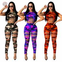 Hot Sell Hollow Out Camouflage Print Sexy Two Piece Set Matching Sets 2 Pcs Outfits
