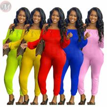 Best seller solid color skinny off the shoulder Fitness Jump Suit Bodycon Sexy Women One Piece Jumpsuits And Rompers
