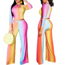 Newest Design Rainbow Striped Crop Top And Wide Leg Pants Sexy 2 Pcs Track Suit Outfits Two Piece Set Women Clothing