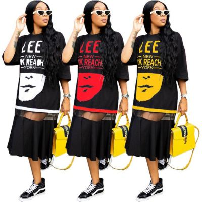 Hot Onsale Summer Women Plus Size Dress Fashion Print Mesh Splice Oversize T Shirt Dress Women Girls' Casual Long Dress