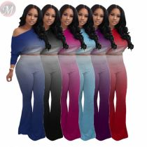 New casual fashion gradient color Top And Pants Sexy 2 Pcs Track Suit Outfits Two Piece Set Women Clothing For Women