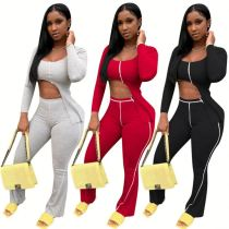 Wholesale Sexy High Elastic Rib Asymmetric 2 Piece Set Top And Pants Outfits Two Piece Set Women Clothing For Women