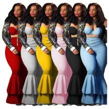 Best Selling 2020 Fall Crop Top And Flared Pants Solid Color Sexy 2 Pcs Track Suit Outfits Two Piece Set Women Clothing