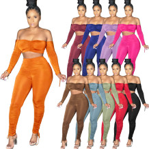 Fashion Autumn Winter Women Solid Color Off Shoulder Draped Sexy 2 Pcs Outfits Two Piece Set