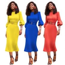 Hot Onsale Sexy Bodycon Dress Women Solid Color Puff Sleeve Evening Party Dress Ladies Fashion Casual Dresses