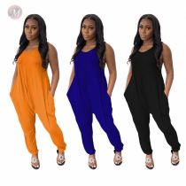 Fashion Solid Loose With Pocket Women's Full Length Ladies One Piece Bodysuits Bodycon Jump Suit