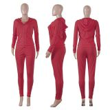 2020 New Arrival Solid Color Long Sleeve Solid Zip Sweatshirt Pencil Pants Set Outfits Two Piece Set Women Clothing