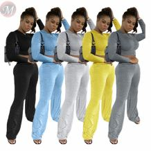 Fashion solid color draped trumpet Top And Pants Sexy 2 Pcs Track Suit Outfits Two Piece Set Women Clothing For Women