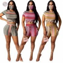 Hot Style Striped Print Sexy Two Piece Short Set Matching Sets 2 Pcs Outfits