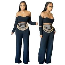 Fashion Sexy Night Club Evening Party Ladies 2 Piece Set Off The Shoulder Top And Flared Pants Women Two Piece Pants Set