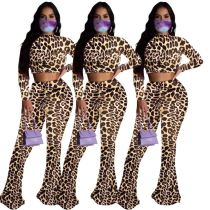 Wholesale New Leopard Print Crop Top And Flared Pants Sexy 2 Pcs Track Suit Outfits Two Piece Set Women Clothing