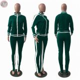 latest design side stripe open shoulder sports tracksuit women clothing two piece outfits set