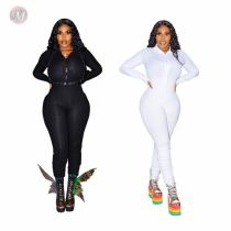 Hot Sell Autumn Solid Women's Full Length V-neck Zip Ladies One Piece Jump Suit Bodysuits