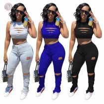 Wholesale Solid Hollow Out Crop Top And Draped Pants Sexy Matching Sets 2 Pcs Outfits Two Piece Set