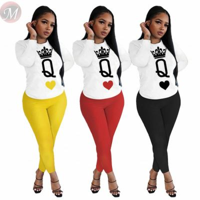 Fashionable casual letter print long sleeve 2 Pcs Track Suit Outfits Two Piece Set Women Clothing For Women