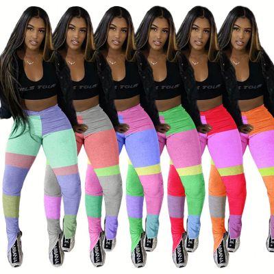 Fashion Casual Contrast Color Splice Women High Waist Slit Pants Yoga Sweat Plus Size Pants Ladies Trousers Leggings