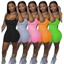 Fashion Sexy Solid Color Spaghetti Strap Sports Tight Jumpsuits Bodysuits Women One Piece Short Jumpsuits And Rompers