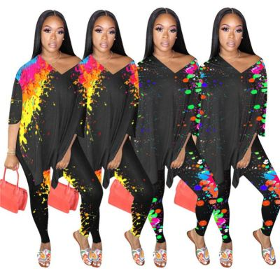 Latest Design Long Sleeve Fashion Print Slit Top And Pants Sexy 2 Pcs Track Suit Outfits Two Piece Set Women Clothing