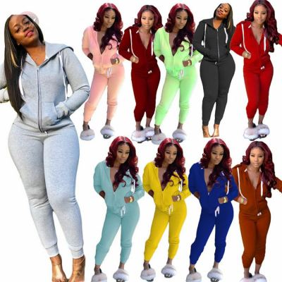 New Arrival Autumn Winter Solid Color Hoodies With Pocket Women Sexy Two Piece Set 2 Pcs Track Suit Outfits
