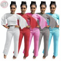 Hot selling fashion solid color casual trumpet Top And Pants Sexy 2 Pcs Track Suit Outfits Two Piece Set Women Clothing