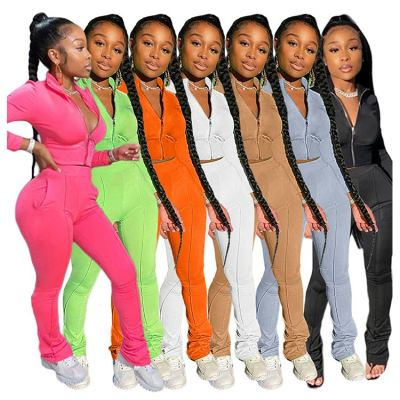 Stylish Casual Solid Color Sports Suit Ladies Jogging Suit Sexy 2 Pcs Track Suit Outfits Two Piece Set Women Clothing