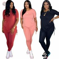 Fashion Draped Solid Short Sleeve Sexy Matching Sets 2 Pcs Outfits Two Piece Set